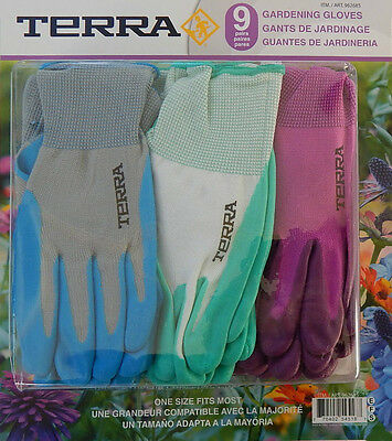 GENUINE Gardening Gloves 9 Pairs Terra One Size Fits Most FreeSuperfast Shipping