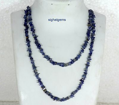 """90Cts Natural Genuine Kyanite Jewellery Chip Nugget Beads 34"""" Necklace"""