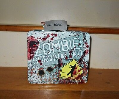 Zombie Apocalypse Hot Topic Survival Kit Funny Lunch Box Metal Bloody Tote NWT