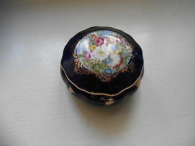 Vintage  Limoges France Cobolt Blue Porcelain Box ............