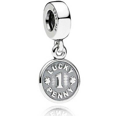 LUCKY PENNY Authentic PANDORA Silver CLOVER COIN Charm/Pendant/Dangle 791298 NEW