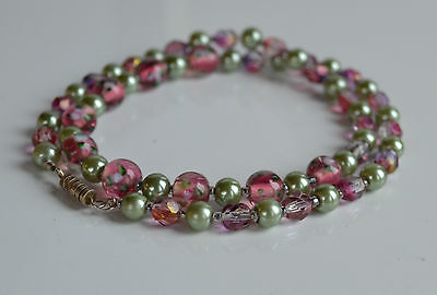 Vintage Pink Sommerso Murano glass purple crystal green faux pearl necklace