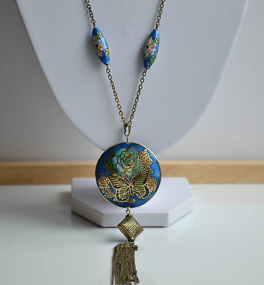 Vintage Chinese Export Necklace Cloisonne Pendant Huge Double Sided & Tassels