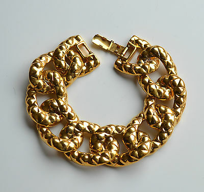 Vintage Signed Coro Chunky Statement Curbed Chain Bracelet Goldtone Metal