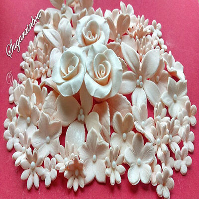 139 Edible sugar flowers roses hydrangea pale peach cake toppers decorations