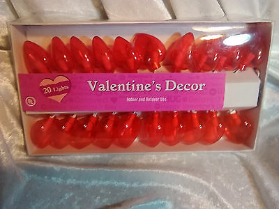 Wedding Heart Shaped Lights Red 20 Ct Decoration Indoor Outdoor Valentines Love