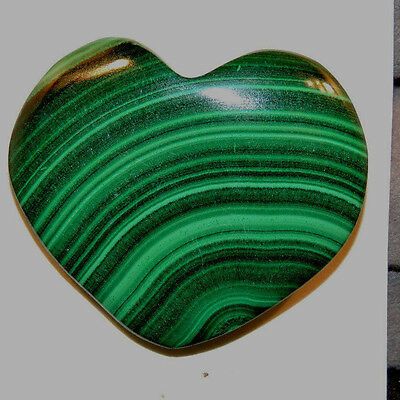 Malachite Heart 35x29mm with 7.5mm thick drilled hole in top (11762)