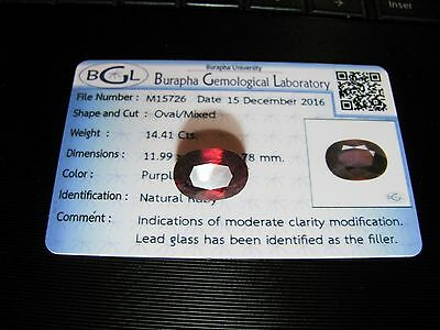 14.41ct NATURAL RUBY BGL CERTIFIED oval cut Rubis du Mozambique Transparent
