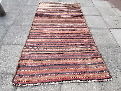 Old Traditional Hand Made Perian Oriental Red Brown Wool Strip kilim 278x144cm