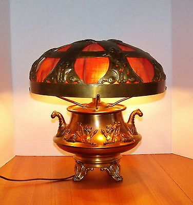 Greek Neoclassic Urn Table Lamp w/ Mythological Zephyrs & Repousse Work