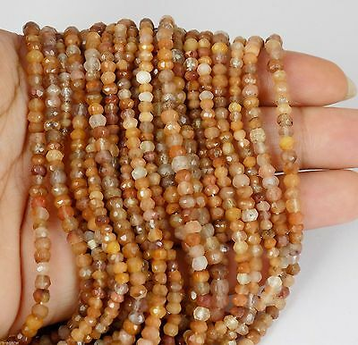 """5 Strands Natural Peach Moonstone Rutile Faceted Rondelle Beads 3-4mm 13"""" Long"""