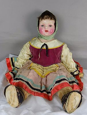 Antique Composition Cloth Mama  Russian Character Type Doll
