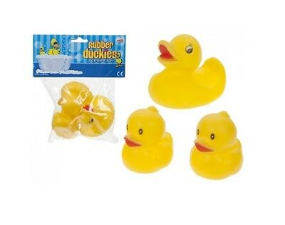 Pack of 3 Rubber Duckies Childrens Bath Time Yellow Duck Toy Set