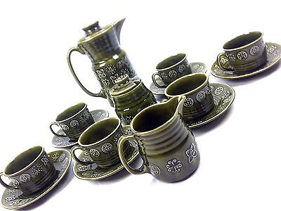 Lord Nelson Pottery Retro Green Coffee Set 1970s