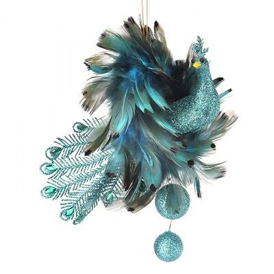 peacock feather Christmas ornament dangle mtx51839 glitter  8""
