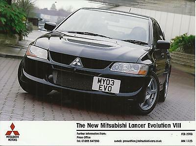 MITSUBISHI LANCER EVOLUTION VIII UK market press photo 2003