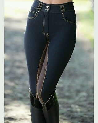 Equestrian Horse Riding Pants Equetech Denim Breeches Navy Front. RRP £119, S26