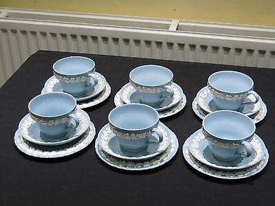 Set Of 6 Cups Saucers & Side Plate (Trio's) Blue Wedgwood Queensware