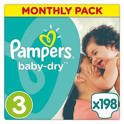 Pampers Baby-Dry Nappies Monthly Saving Pack - Size 3 Pack of 198