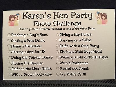 Personalised Hen Night Party Photo Challenge Game  Free Postage