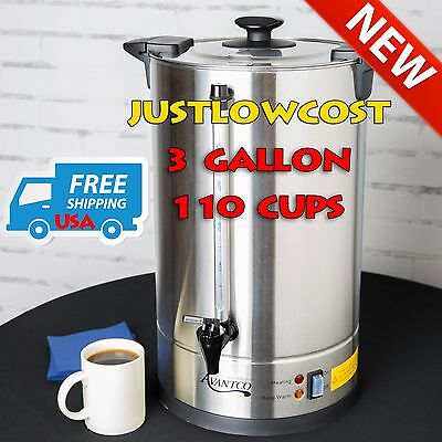 110 Cup 3 Gallon Stainless Steel Commercial Shop Brewer Coffee Tea Urn