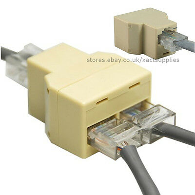 RJ45 Ethernet LAN Network 1 to 2 way Y Splitter / Coupling Adapter / T Connector