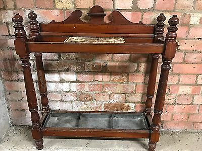 Antique Victorian Mahogany Stick Umbrella Stand With Drip Tray