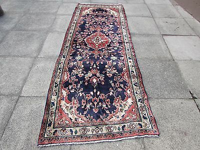 Old Traditional Hand Made Persian Rug Oriental Blue Wool Long Runner 265x100cm