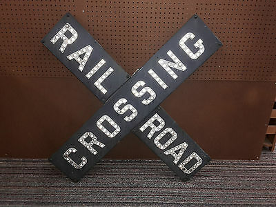 Antique steel metal Railroad Crossing sign Glass Cats eye Marbles crossbuck