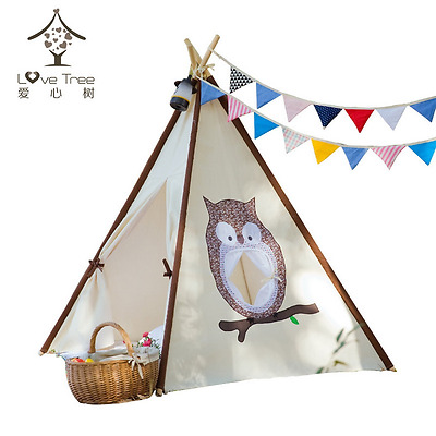 LoveTree? Children Indian Teepee Play-Owl Window Style Teepee-Preassemble