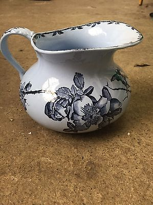 French Ironstone Choisy Le Roi Blue Pitcher Beautiful Antique Jug