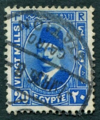 EGYPT 1934 20m bright blue SG162 used NG King Fuad a #W10