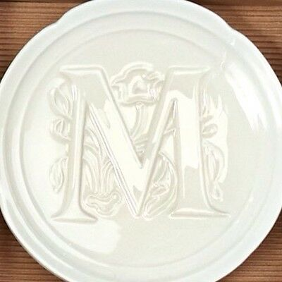 "Mud Pie Initial ""M"" Small Ceramic Plate Gift Boxed Soap Jewelry Desert NWT"