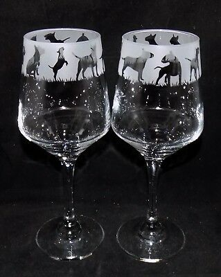 "New Etched ""ENGLISH BULL TERRIER WINE GLASS(ES)"" - Optional Gift Box"