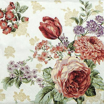4 Single Table Party Paper Napkins for Decoupage Decopatch Craft Mysterious Rose