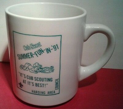 BSA Boy Scout MUG Coffee CUP 1991 CUB CAMP Summer Harding Area Council MARION OH