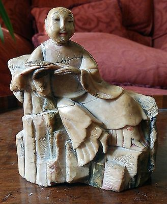 Antique Oriental Sculpture : A Chinese Soapstone C.19thC