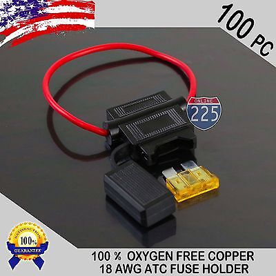100 Pack 18 Gauge ATC In-Line Blade Fuse Holder 100% OFC Copper Wire + 1A - 40A