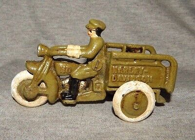 HARLEY DAVIDSON ARMY TRICYCLE DELIVERY MOTORCYCLE Cast Iron w Driver Toy Green