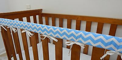 Cot Rail Cover Crib Teething Pad Baby Blue Chevron x 1