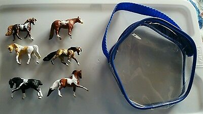 Breyer® Mini Whinnies ~PINTOS~ set of 6 horses & 1 pouch