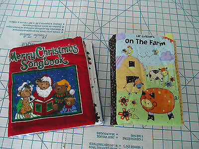 Fabric Books - 2 books- Lil' Critters on the Farm and Merry Christmas Songbook