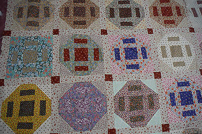 "VINTAGE ANTIQUE QUILT TOP 1950 or 60's ? HANDPIECED,CHARM QUILT 100"" X 87"""