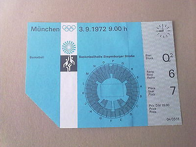 Ticket Olympic Games MÜNCHEN 1972 - BASKETBALL 3.09.1972