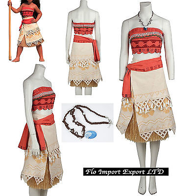 Vaiana Vestito Carnevale Donna Bambina Cosplay Dress Moana Costume VAIDR02 - B