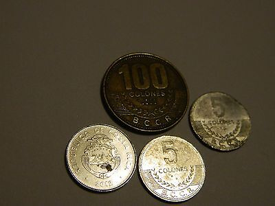Costa Rica Lot of Various Coins 4 Pcs.---INV204