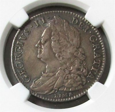1746 Lima Silver Great Britain 1/2 Crown King George Ii Coin Ngc Very Fine 30