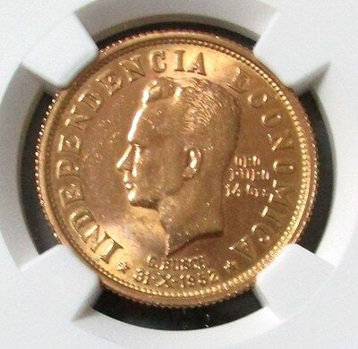 1952 Gold Bolivia 14 Gram Coin Ngc Mint State 62 Revolution