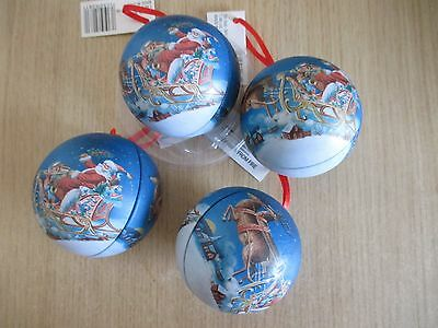 X4 Fillable Tin Christmas Tree Bauble Decorations. Christmas Pattern, Opening