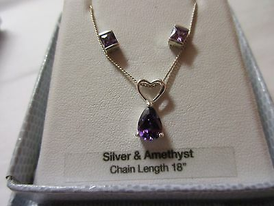 silver and amethyst pendant necklace and earring set